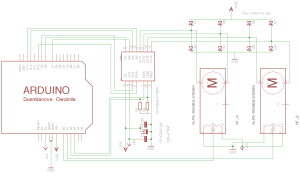 circuit diagram of Arduino Uno, l298 and 2 ALPS motorfaders