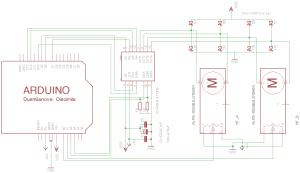 circuit diagram of Arduino Uno, l298 and 2 ALPS motorfaders